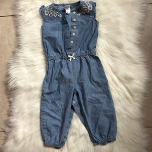 Baby Girls Chambray Romper Bodysuit
